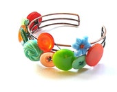 Aloha Bright Green, Blue, and Orange Vintage Button Cuff Bracelet  - Funky Accessory