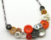Gray, Orange, White, Tan, and Black, Big Vintage Button Statement Bib Necklace