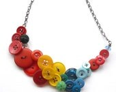 Tropical Bird Big Button Necklace in Bright Red, Yellow, Blue