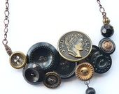 XLII Black and Gold Brassy Vintage Button Necklace - Chunky Jewelry - Free Shipping Etsy