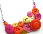 Magenta, Orange and Pale Yellow Vintage Button Bright Funky Statement Necklace - Fun Summer Jewelry