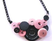 Light Pink and Black Button Bold Chunky Necklace