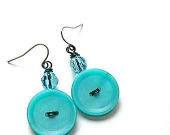 Bright Aqua Turquoise Blue Vintage Button Earrings - Fun Jewelry