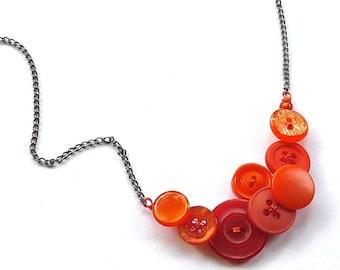 Bright Orange Button Necklace