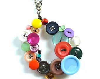 Button and Bead Jewelry Big Funky Colorful Oval Statement Piece