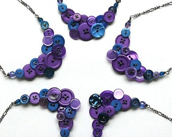 Wedding Jewelry- Bridesmaid Necklaces Custom Order - Made with Vintage Buttons in Your Wedding Colors  - Bridal Jewelry Set of 5 Necklaces