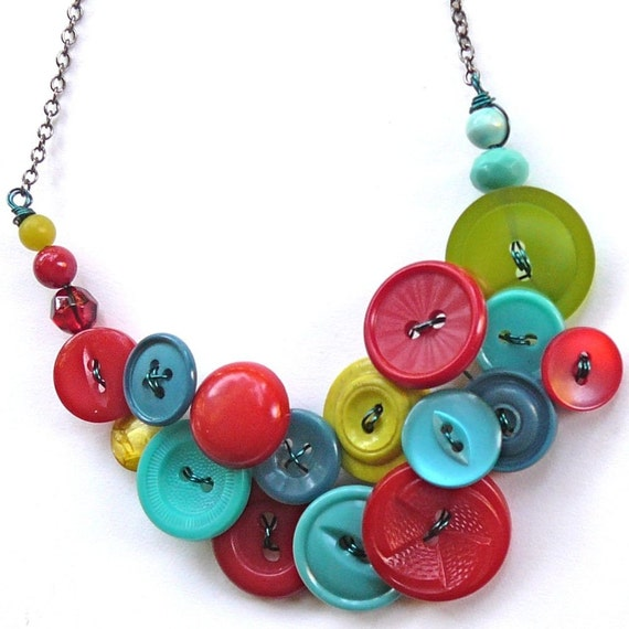 Teal Twist Vintage Button and Bead Necklace
