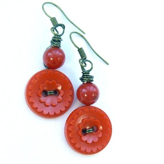 Red Flower Ruffle Vintage Button Dangle Earrings