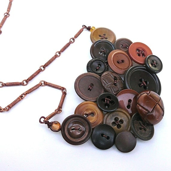 BIG Brown Statement Necklace from Repurposed Vintage Buttons