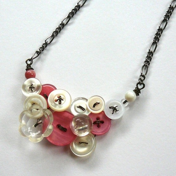 Custom Order Coral and White Vintage Button Bridesmaid Necklace