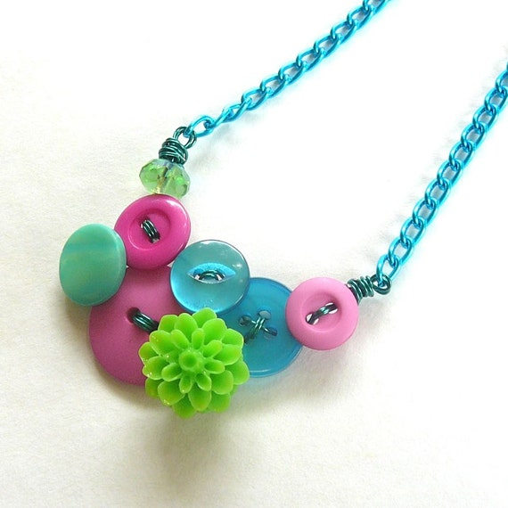 Neon Bright Jewelry - Little Pop of Color - Vintage Button Necklace - Aqua, Pink, Lime
