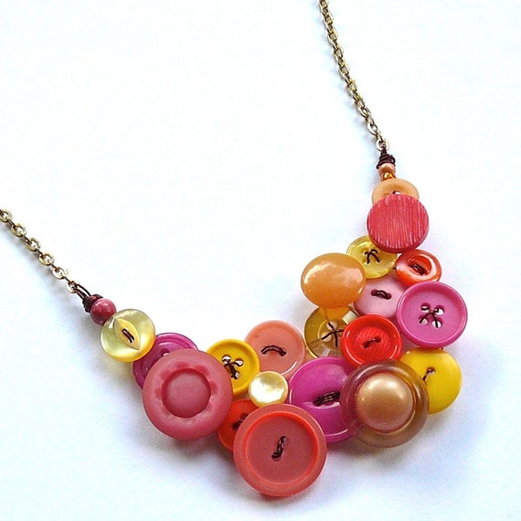 Warm Colors Button Statement Necklace