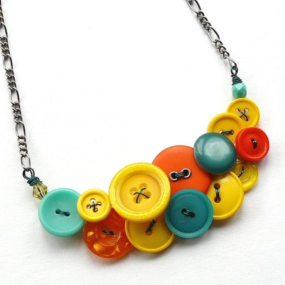 Bright Tropical Button Statement Necklace in Yellow, Orange, and Aqua