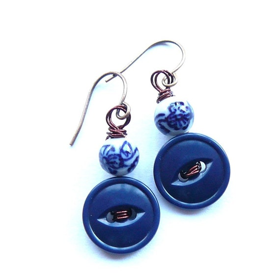 Mahjong Royal Blue and White Bead and Button Earrings