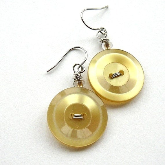 Golden Pale Yellow Earrings - Recycled Vintage Buttons