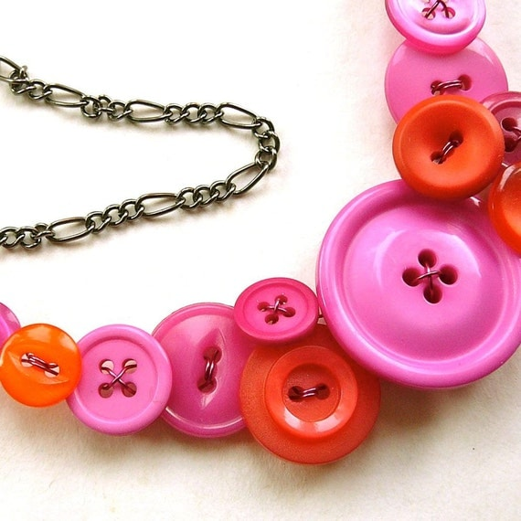 Bright Orange and Pink Vintage Big Button Bib Funky Statement Necklace
