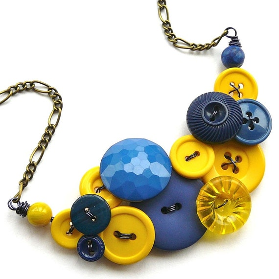 Navy Blue and Bright Yellow Vintage Button Large Statement Necklace