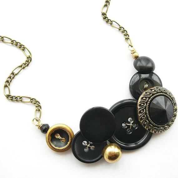 Black Vintage Button Bib Necklace with Antique Gold Brass