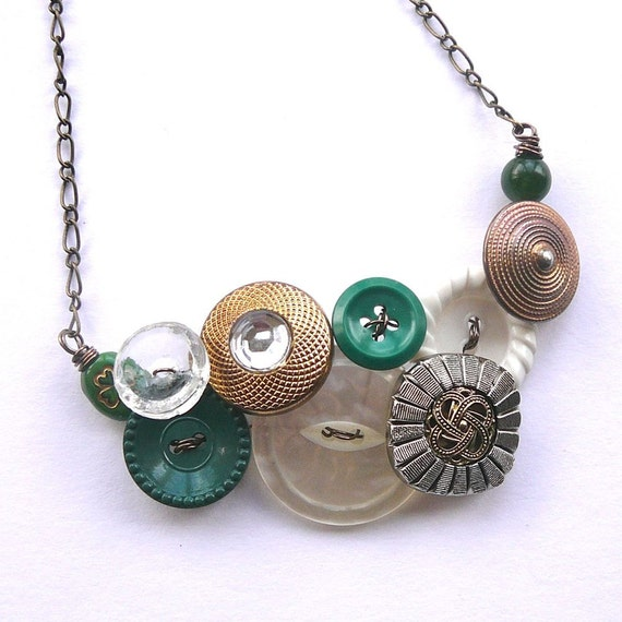 Irish Celtic Green, White, and Gold Brass Vintage Button Necklace