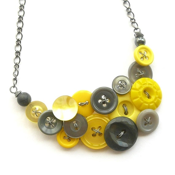 Yellow and Gray Jewelry Bold Button Statement Necklace