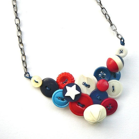 Stars and Stripes Fourth of July Red, White, and Blue Vintage Button Statement Necklace Patriotic Jewelry