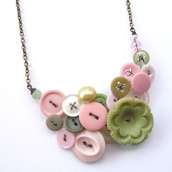 Gentle Pink and Green Flower Vintage Buttons Large Statement Necklace - Free Shipping Sale