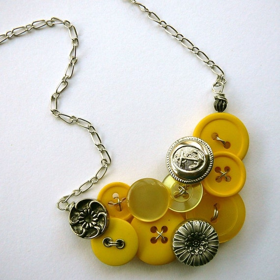 Funky Button Necklace Silver Flowers with Shades of Yellow Statement Jewelry