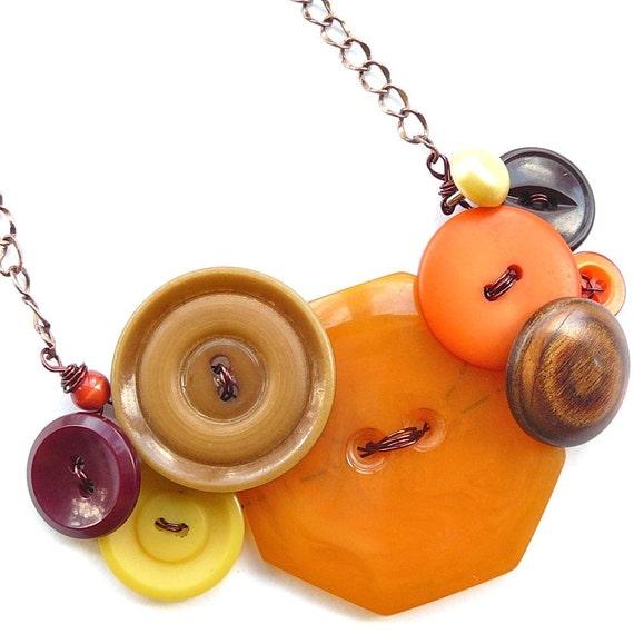 Big Chunky Autumn Vintage Button Necklace