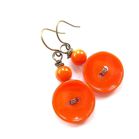 Bright Orange Vintage Button Dangle Earrings - Fun and Funky Jewelry