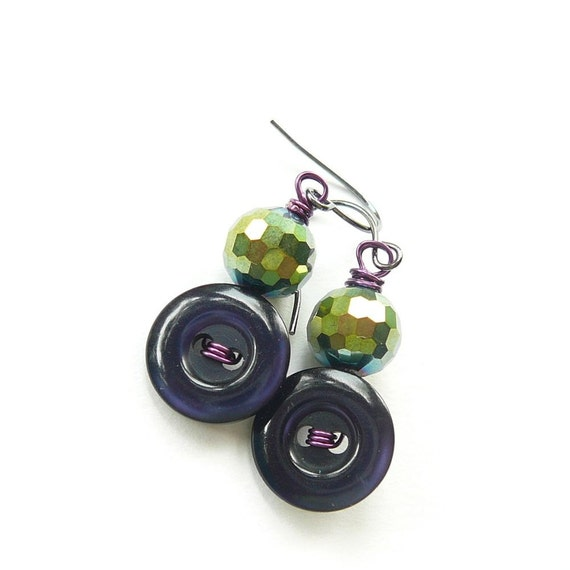 Jewel Tone Purple and Chartreuse Vintage Button Earrings