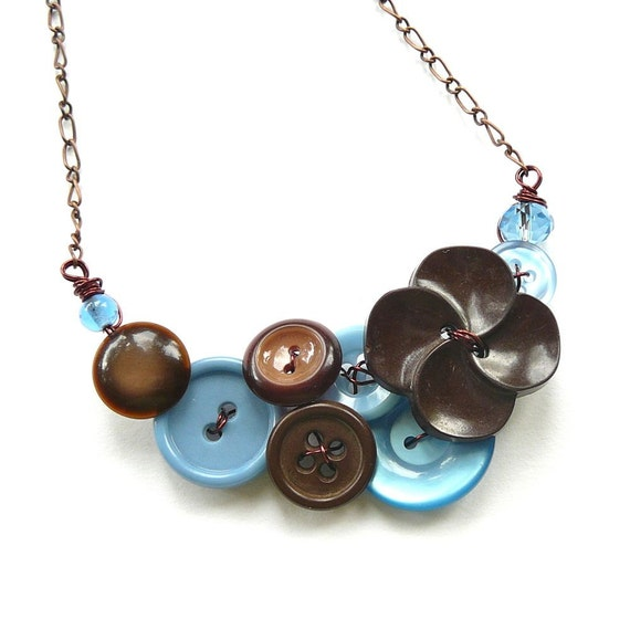 Vintage Button Jewelry Button Necklace in Baby Blue and Chocolate Brown with flower button