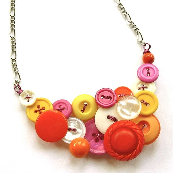 Statement Necklace in Hot Colors - Bright Magenta Pink, Orange, White, and Yellow Vintage Buttons