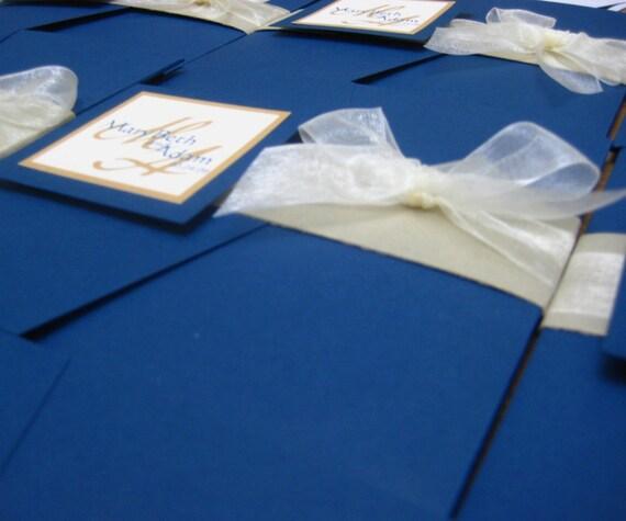 Items Similar To Royal Blue Wedding Pocket Invitations On Etsy
