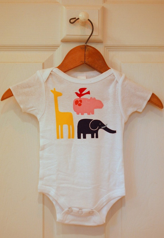 Alexander Henry 2 D Zoo Mod Onesie - Size 0 to 3 Months