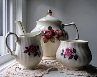 Vintage Sadler Teapot Creamer and Sugar Bowl from England