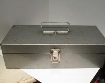 Vintage Grey  Metal Industrial Box