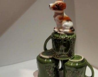 Vintage 3 Avocado Green Mugs -  Cups