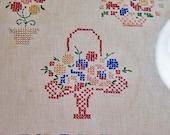 Vintage Sampler Floral Dated 1944 Framed  Flower Baskets Cross Stitch