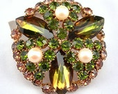 Rhinestone Brooch Olive Green & Gold Prong Set Stones White Faux Pearls Goldtone Metal Setting Vintage 1960s Costume Jewelry