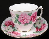 Vintage Teacup & Saucer Crown Staffordshire Pink Roses Fine Bone China Kitchen Collectible Tea Set
