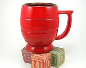 Vintage Frankoma Mug Fire Engine Red Barrel Shape Heavy Pottery Circa 1970s Coffee or Cocoa Cup Christmas Red