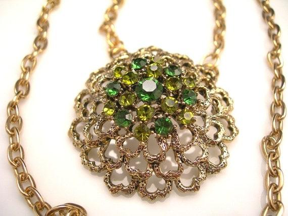 Vintage Green Rhinestone Necklace Flower Pendant