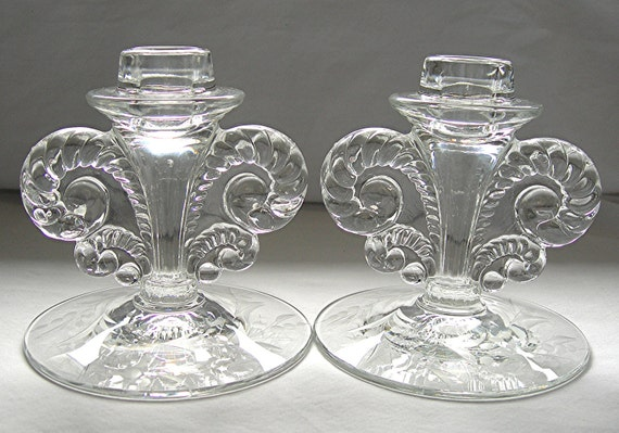 Fostoria Glass Candle Holders Pair Rams Head Circa 1950s Vintage Elegant Glassware Etched Base - Price Drastically Reduced