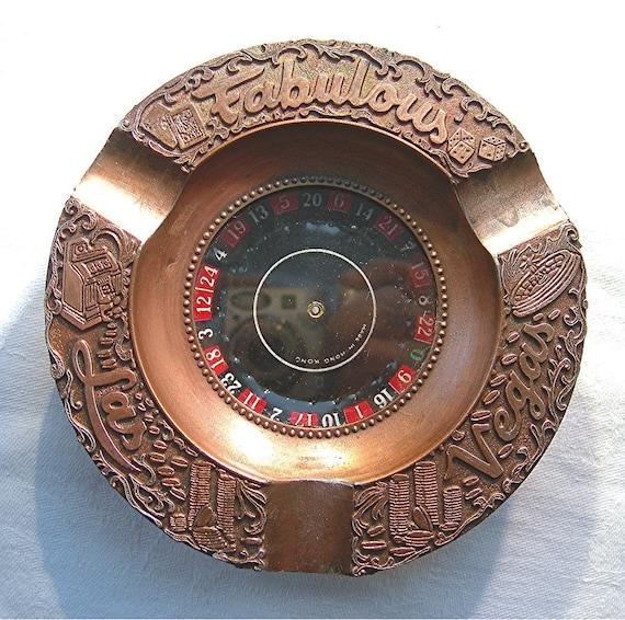 Vintage Las Vegas Ashtray Copper Roulette Wheel Spins Circa 1950s Sovenir Collectible Tobaccciana