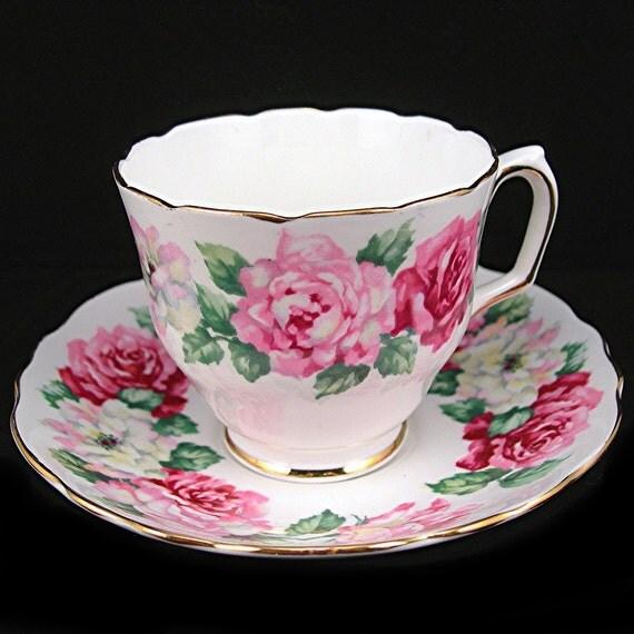 Vintage Teacup & Saucer Crown Staffordshire Pink Roses Fine Bone China Kitchen Collectible Tea Set
