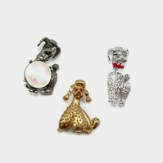 Vintage Poodle Pins Brooches Lot of Three 1950s Costume Jewelry