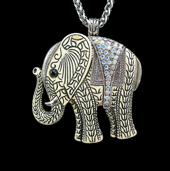 "Elephant Pendant 30"" Chain Necklace Hard Plastic Paved Rhinestones Vintage 1980s Costume Jewelry"