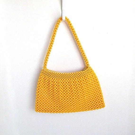 Vintage Beaded Handbag Purse Golden Yellow 1960s