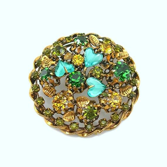 Austrian Rhinestone Brooch Yellow Peridot Green Blue Goldtone Setting Vintage 1960-70s Costume Jewelry Fashion Accessory