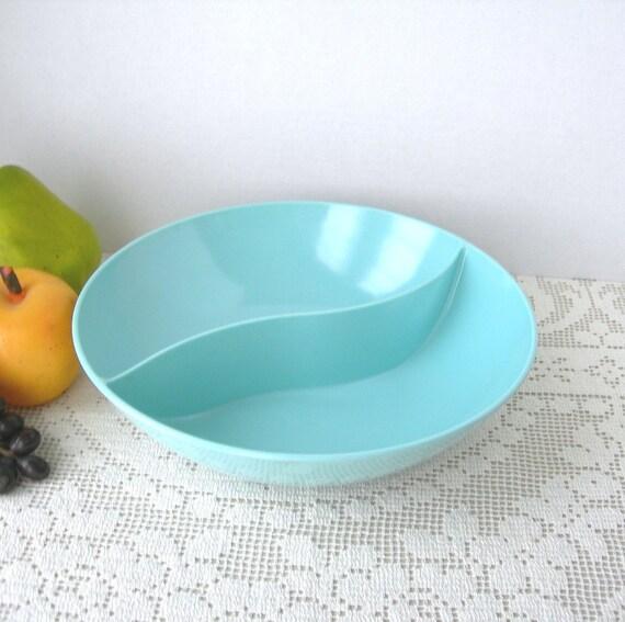 "Vintage Melmac Bowl by Windsor Blue 9"" Divided Vegetable Dish 1950-60s Plastic Dinnerware Cottage Chic"